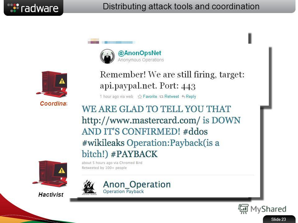 Distributing attack tools and coordination Slide 23 Coordinator Send updates Twitter Get updates Hactivist LOIC attack tool Internet