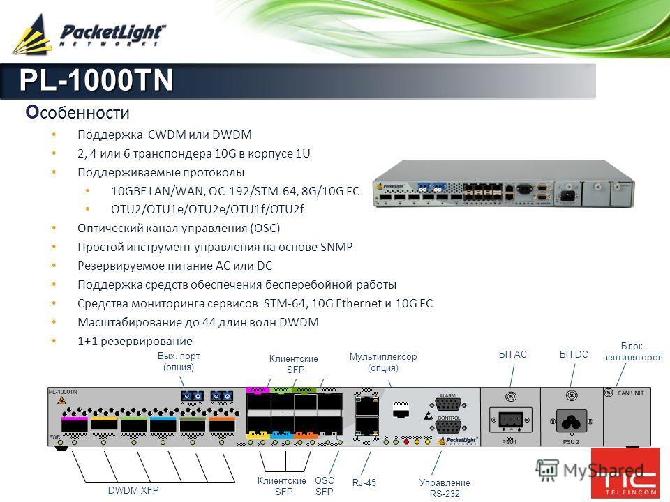 Company confidential PL-1000TN О собенности Поддержка CWDM или DWDM 2, 4 или 6 транспондера 10G в корпусе 1U Поддерживаемые протоколы 10GBE LAN/WAN, OC-192/STM-64, 8G/10G FC OTU2/OTU1e/OTU2e/OTU1f/OTU2f Оптический канал управления (OSC) Простой инстр