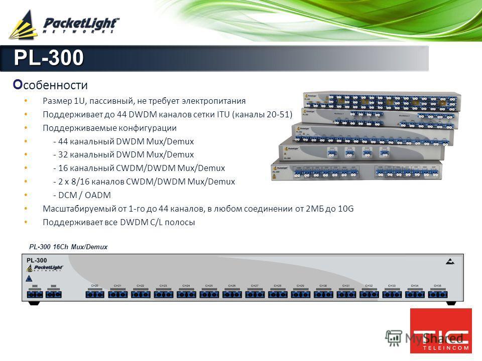 Company confidential О собенности Размер 1U, пассивный, не требует электропитания Поддерживает до 44 DWDM каналов сетки ITU (каналы 20-51) Поддерживаемые конфигурации - 44 канальный DWDM Mux/Demux - 32 канальный DWDM Mux/Demux - 16 канальный CWDM/DWD