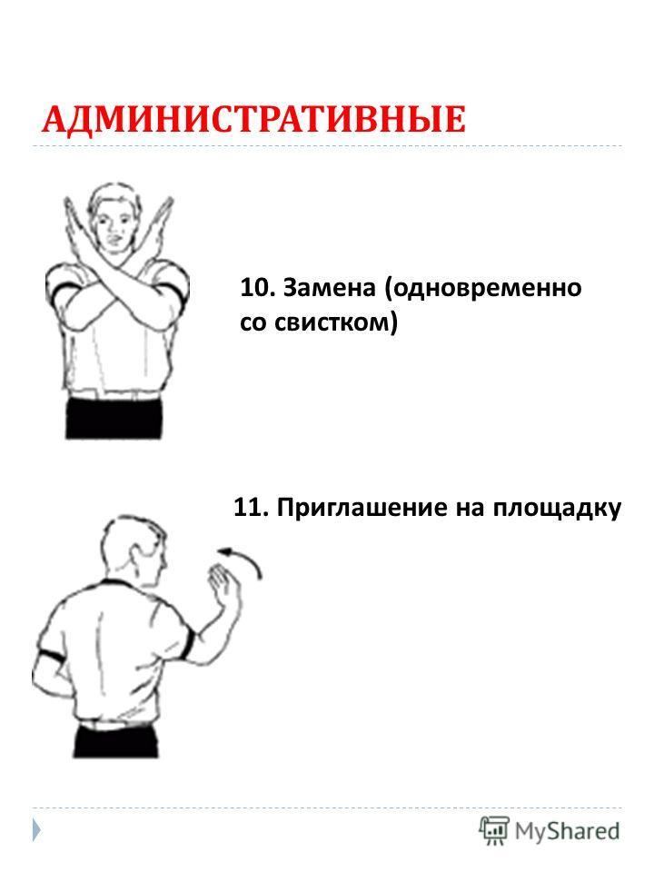 АДМИНИСТРАТИВНЫЕ 10. Замена (одновременно со свистком) 11. Приглашение на площадку