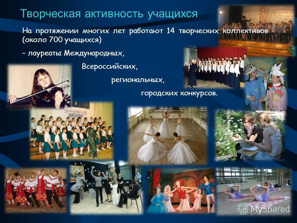 Творческая активность учащихся На протяжении многих лет работают 14 творческих коллективов (около 700 учащихся) – лауреаты Международных, Всероссийских, региональных, городских конкурсов.