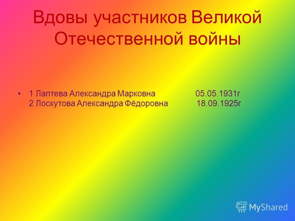 Вдовы участников Великой Отечественной войны 1 Лаптева Александра Марковна 05.05.1931г 2 Лоскутова Александра Фёдоровна 18.09.1925г