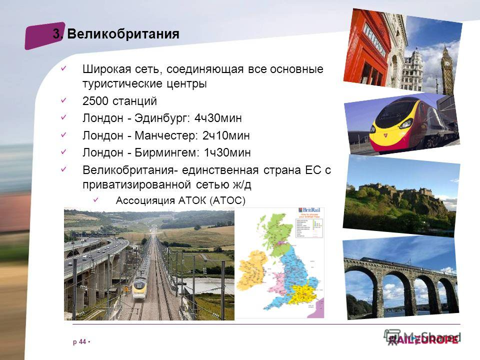 p 44 3. Великобритания Широкая сеть, соединяющая все основные туристические центры 2500 станций Лондон - Эдинбург: 4ч30мин Лондон - Манчестер: 2ч10мин Лондон - Бирмингем: 1ч30мин Великобритания- единственная страна ЕС с приватизированной сетью ж/д Ac