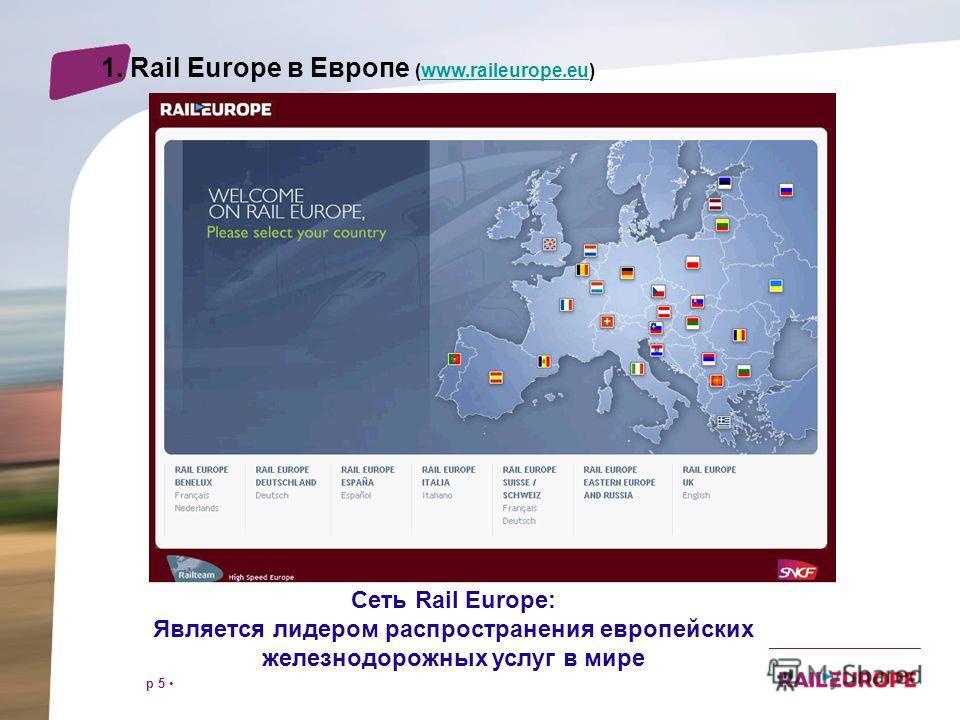 p 5 Сеть Rail Europe: Является лидером распространения европейских железнодорожных услуг в мире 1. Rail Europe в Европе (www.raileurope.eu)www.raileurope.eu