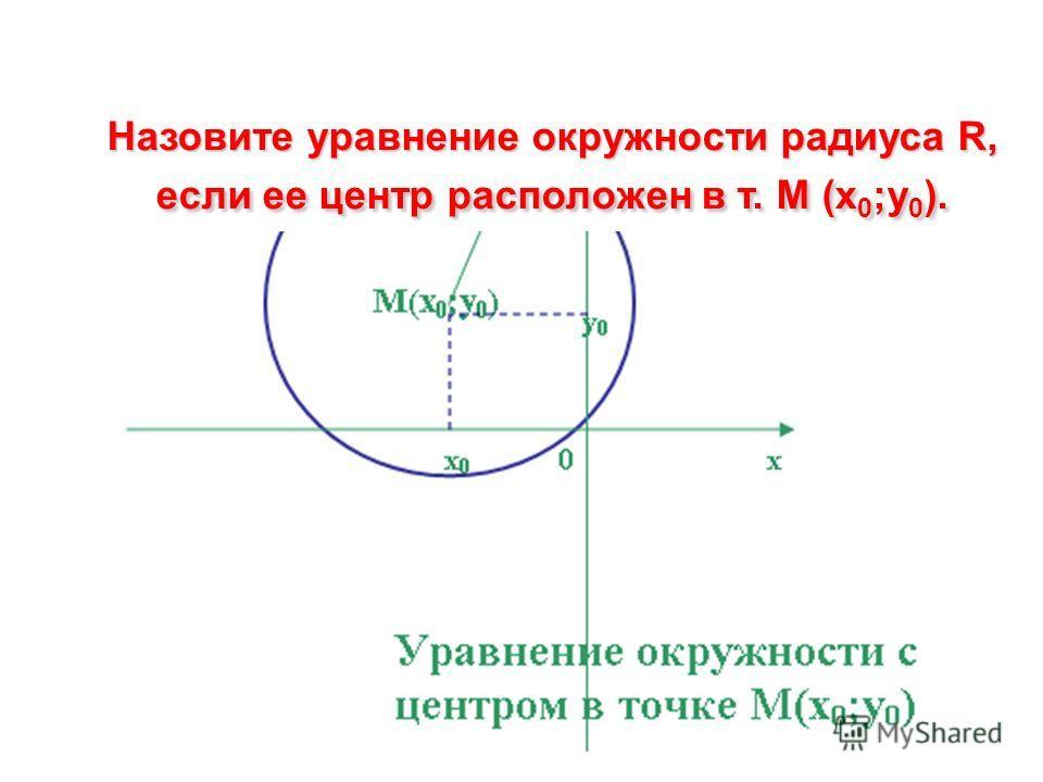 Назовите уравнение окружности радиуса R, если ее центр расположен в т. М (x 0 ;y 0 ).