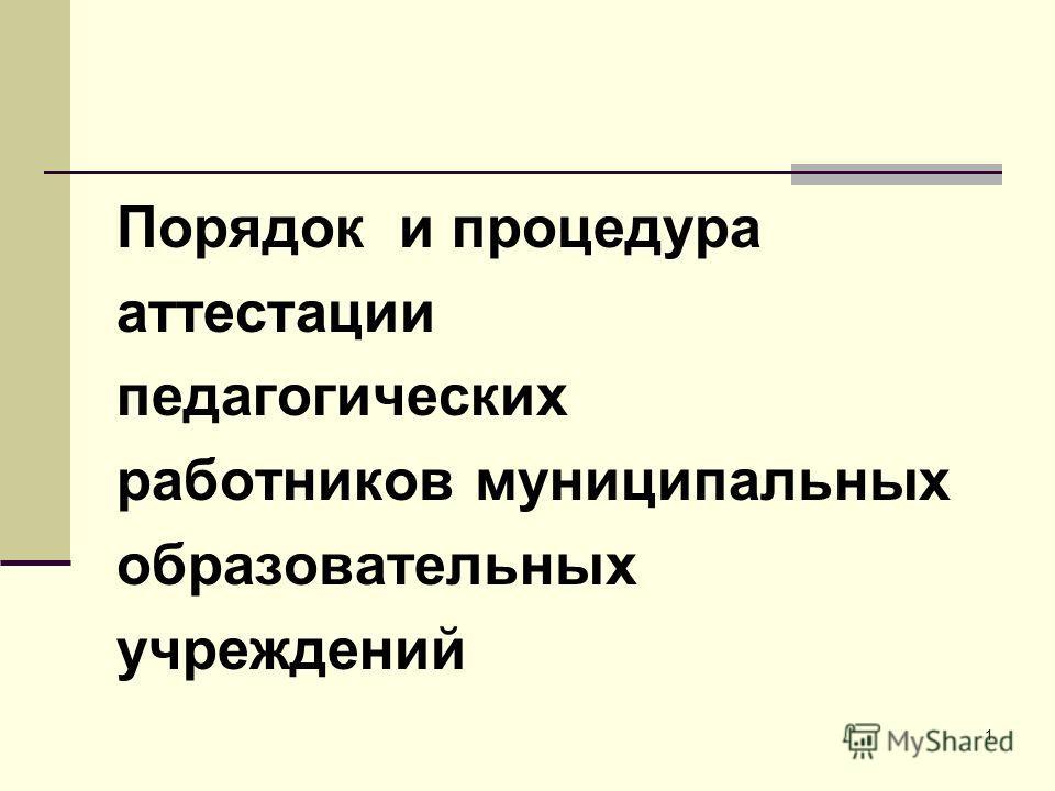 Порядок и процедура аттестации педагогических работников муниципальных образовательных учреждений 1