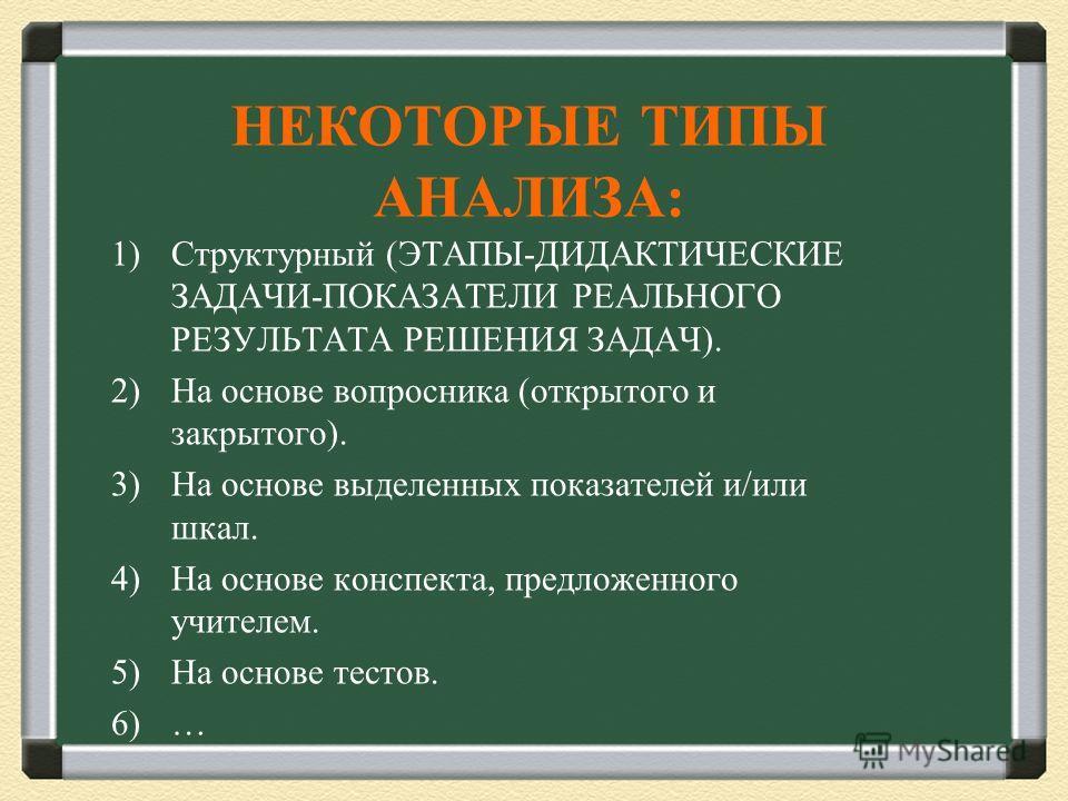 НЕКОТОРЫЕ ТИПЫ АНАЛИЗА: 1)Структурный (ЭТАПЫ-ДИДАКТИЧЕСКИЕ ЗАДАЧИ-ПОКАЗАТЕЛИ РЕАЛЬНОГО РЕЗУЛЬТАТА РЕШЕНИЯ ЗАДАЧ). 2)На основе вопросника (открытого и закрытого). 3)На основе выделенных показателей и/или шкал. 4)На основе конспекта, предложенного учит