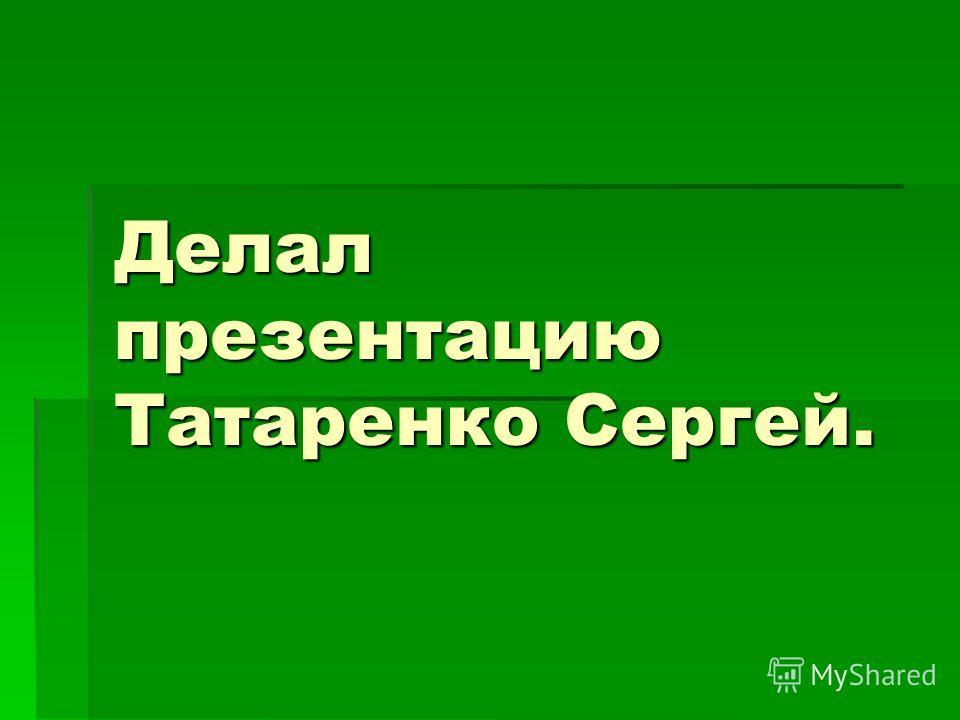Делал презентацию Татаренко Сергей.