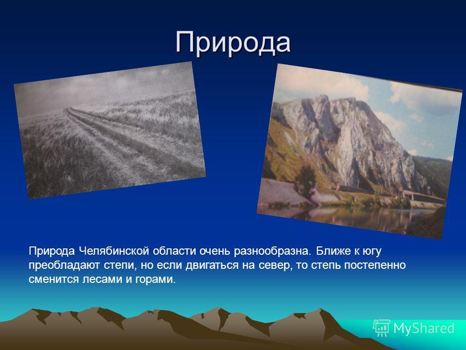 Природа Природа Челябинской области очень разнообразна. Ближе к югу преобладают степи, но если двигаться на север, то степь постепенно сменится лесами и горами.