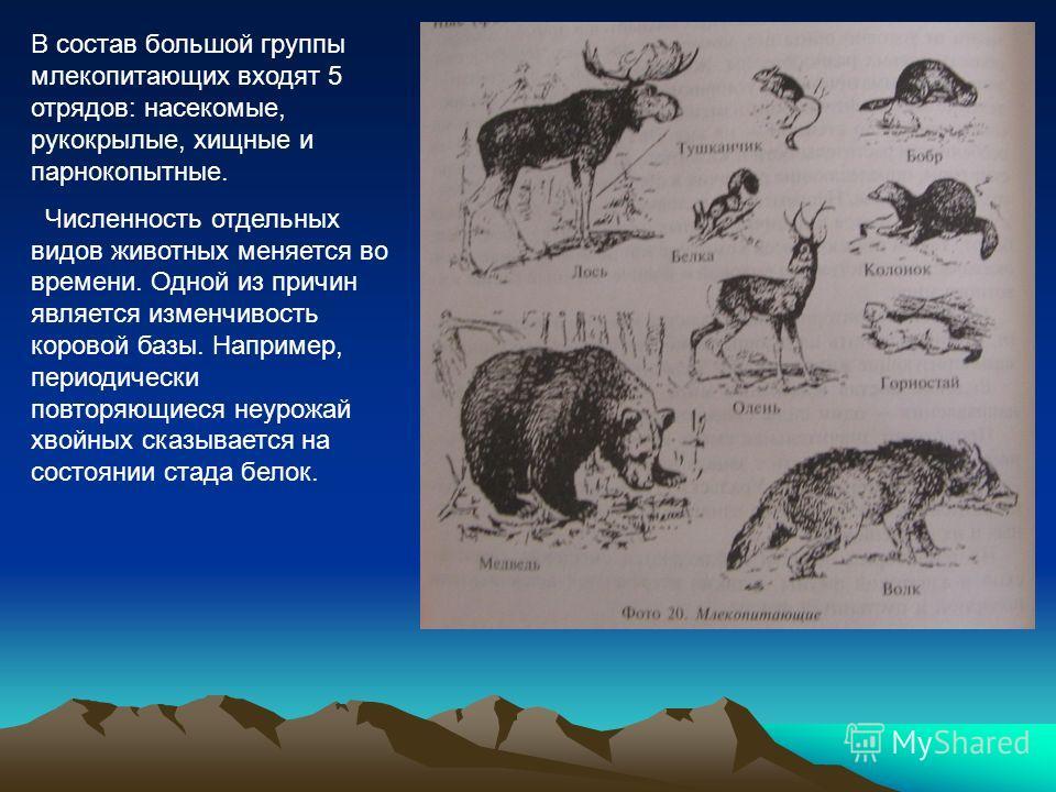 В состав большой группы млекопитающих входят 5 отрядов: насекомые, рукокрылые, хищные и парнокопытные. Численность отдельных видов животных меняется во времени. Одной из причин является изменчивость коровой базы. Например, периодически повторяющиеся