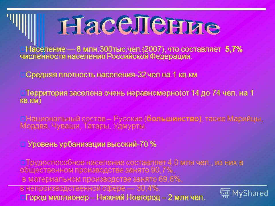 Население 8 млн.300тыс.чел.(2007), что составляет 5,7% численности населения Российской Федерации. Средняя плотность населения-32 чел на 1 кв.км Территория заселена очень неравномерно(от 14 до 74 чел. на 1 кв.км) Национальный состав – Русские (больши