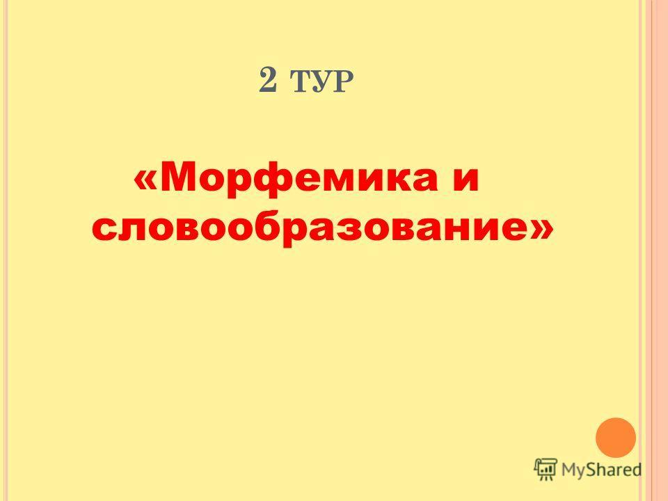 2 ТУР «Морфемика и словообразование»