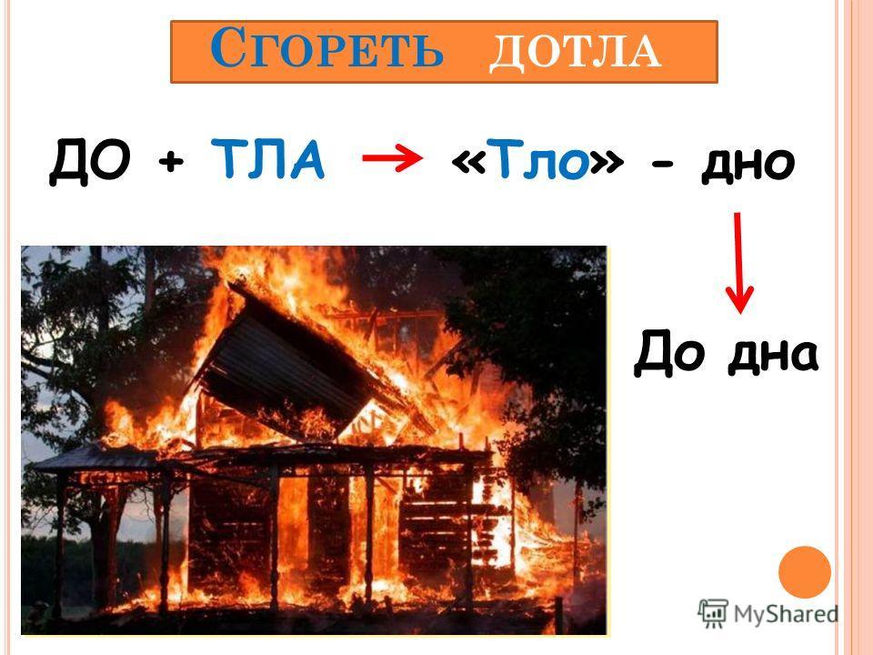 С ГОРЕТЬ ДОТЛА ДО + ТЛА«Тло» - дно До дна