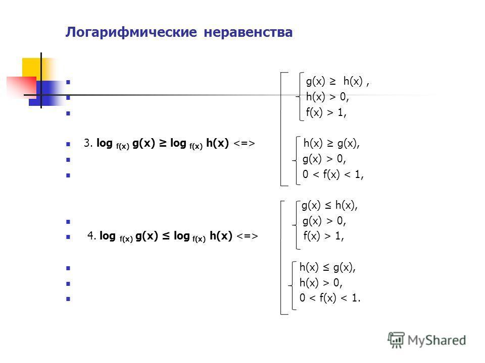 Логарифмические неравенства g(x) h(x), h(x) > 0, f(x) > 1, 3. log f(x) g(x) log f(x) h(x) h(x) g(x), g(x) > 0, 0 < f(x) < 1, g(x) h(x), g(x) > 0, 4. log f(x) g(x) log f(x) h(x) f(x) > 1, h(x) g(x), h(x) > 0, 0 < f(x) < 1.