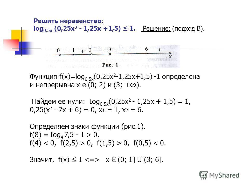 Решить неравенство: log 0,5х (0,25х 2 - 1,25х +1,5) 1. Решение: (подход В). Функция f(х)=log 0,5х (0,25х 2 -1,25х+1,5) -1 определена и непрерывна х е (0; 2) и (3; +). Найдем ее нули: Iog 0,5х (0,25x 2 - 1,25х + 1,5) = 1, 0,25(х 2 - 7х + 6) = 0, х 1 =