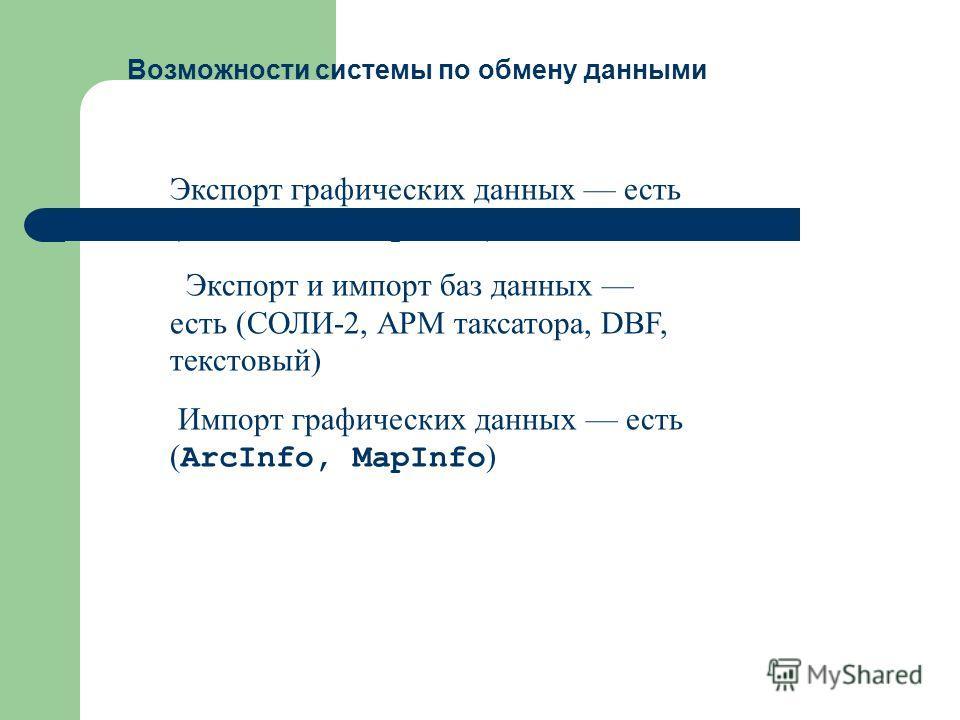 Экспорт графических данных есть ( ArcInfo, MapInfо ) Экспорт и импорт баз данных есть (СОЛИ-2, АРМ таксатора, DBF, текстовый) Импорт графических данных есть ( ArcInfo, MapInfо ) Возможности системы по обмену данными