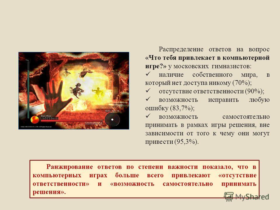 Распределение ответов на вопрос «Что тебя привлекает в компьютерной игре?» у московских гимназистов: наличие собственного мира, в который нет доступа никому (70%); отсутствие ответственности (90%); возможность исправить любую ошибку (83,7%); возможно