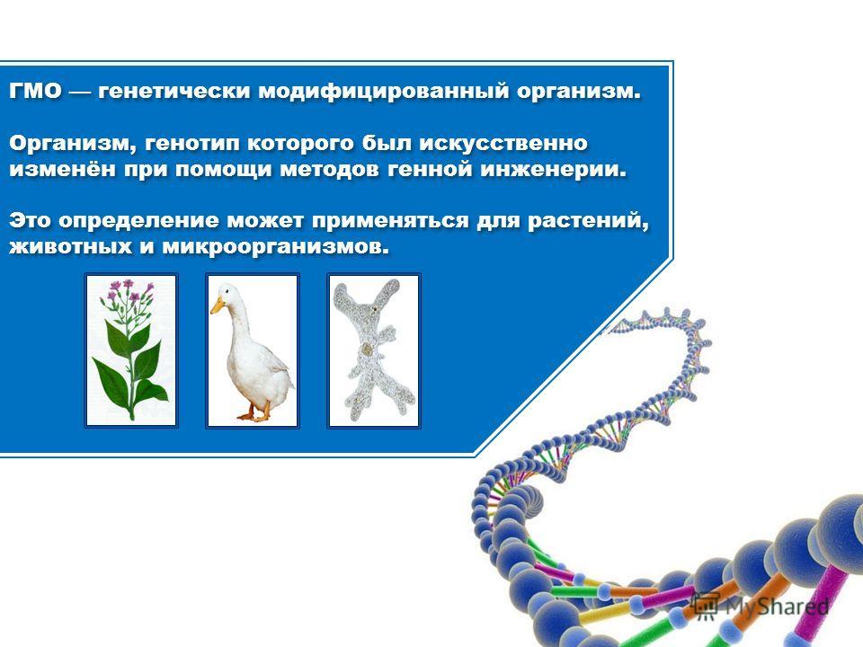 ГМО генетически модифицированный организм. Организм, генотип которого был искусственно изменён при помощи методов генной инженерии. Это определение может применяться для растений, животных и микроорганизмов. ГМО генетически модифицированный организм.