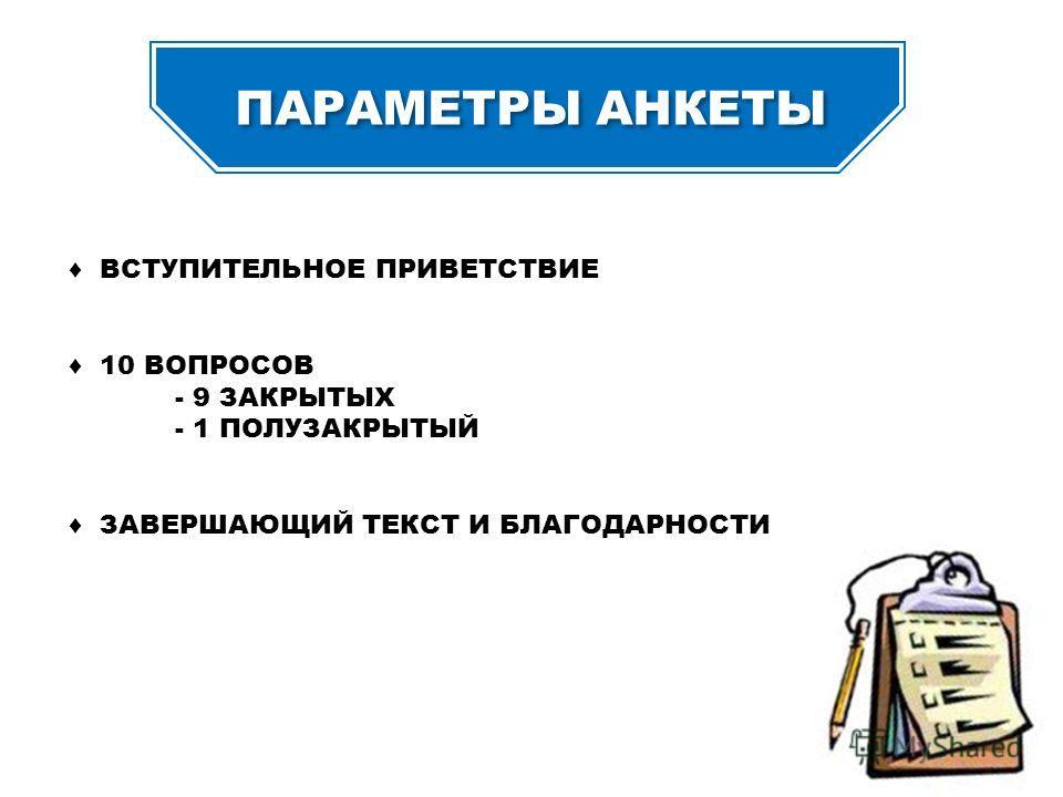 ПАРАМЕТРЫ АНКЕТЫ ВСТУПИТЕЛЬНОЕ ПРИВЕТСТВИЕ 10 ВОПРОСОВ - 9 ЗАКРЫТЫХ - 1 ПОЛУЗАКРЫТЫЙ ЗАВЕРШАЮЩИЙ ТЕКСТ И БЛАГОДАРНОСТИ