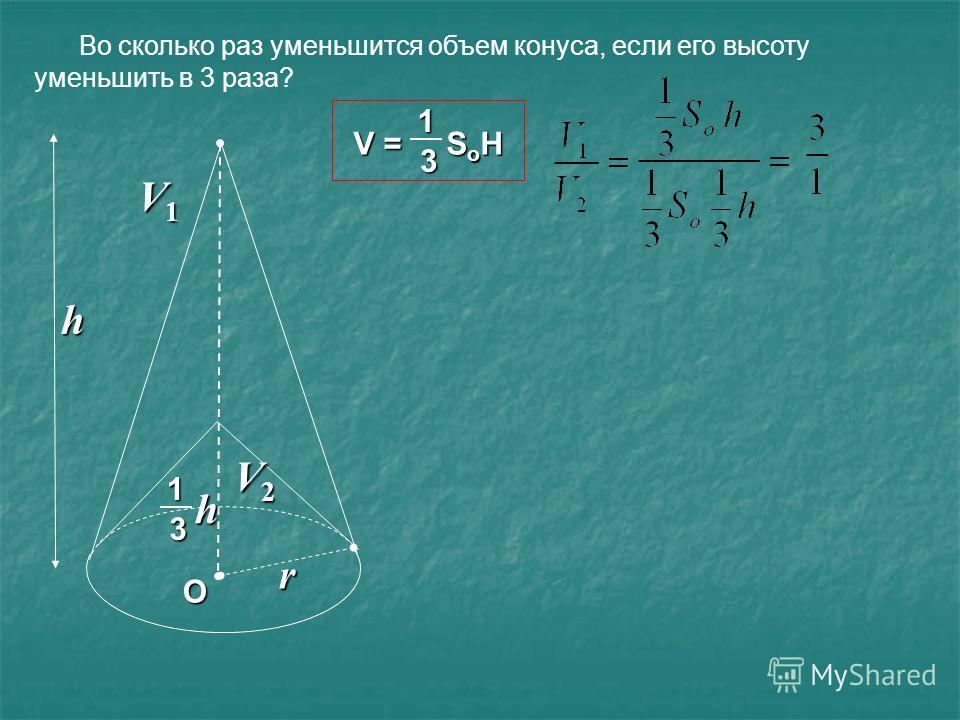 Во сколько раз уменьшится объем конуса, если его высоту уменьшить в 3 раза? V = S o H 13 О r h 1 3 h V1V1V1V1 V2V2V2V2