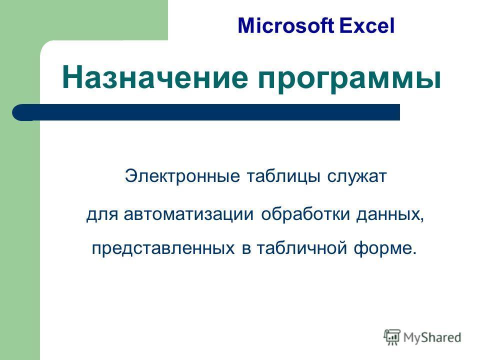 Назначение программы Электронные таблицы служат для автоматизации обработки данных, представленных в табличной форме. Microsoft Excel