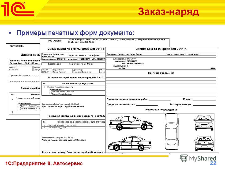 22 www.1c-menu.ru, Октябрь 2010 г. 1С:Предприятие 8. Автосервис Заказ-наряд Примеры печатных форм документа: