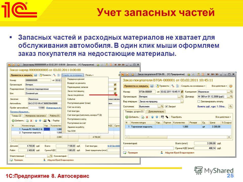 25 www.1c-menu.ru, Октябрь 2010 г. 1С:Предприятие 8. Автосервис Учет запасных частей Запасных частей и расходных материалов не хватает для обслуживания автомобиля. В один клик мыши оформляем заказ покупателя на недостающие материалы.