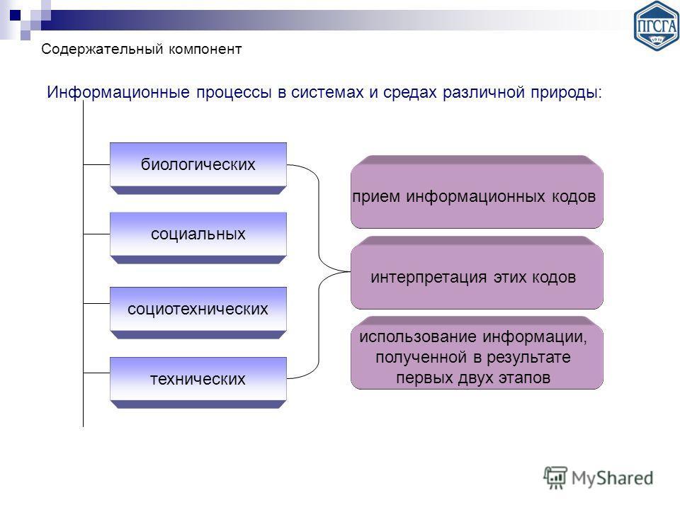 Содержательный компонент Информационные процессы в системах и средах различной природы: биологических социальных социотехнических технических прием информационных кодов интерпретация этих кодов использование информации, полученной в результате первых