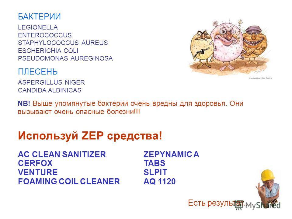 БАКТЕРИИ LEGIONELLA ENTEROCOCCUS STAPHYLOCOCCUS AUREUS ESCHERICHIA COLI PSEUDOMONAS AUREGINOSA ПЛЕСЕНЬ ASPERGILLUS NIGER CANDIDA ALBINICAS NB! Выше упомянутые бактерии очень вредны для здоровья. Они вызывают очень опасные болезни!!! Используй ZEP сре