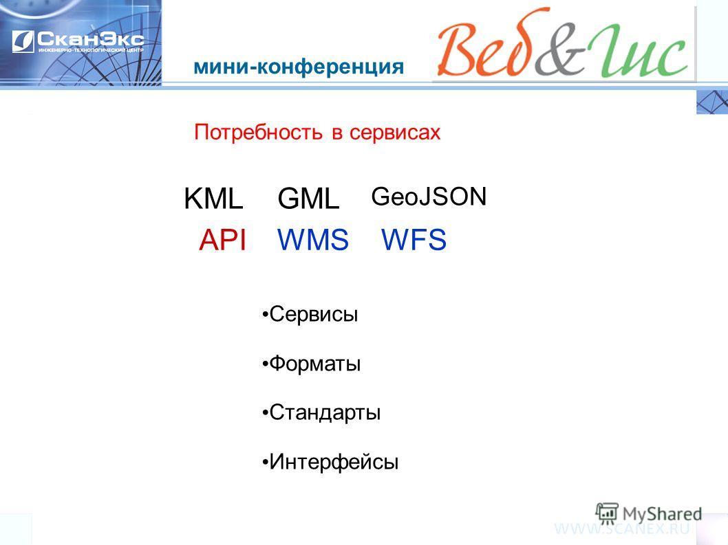мини-конференция Потребность в сервисах APIWMS GeoJSON WFS GMLKML Сервисы Форматы Стандарты Интерфейсы