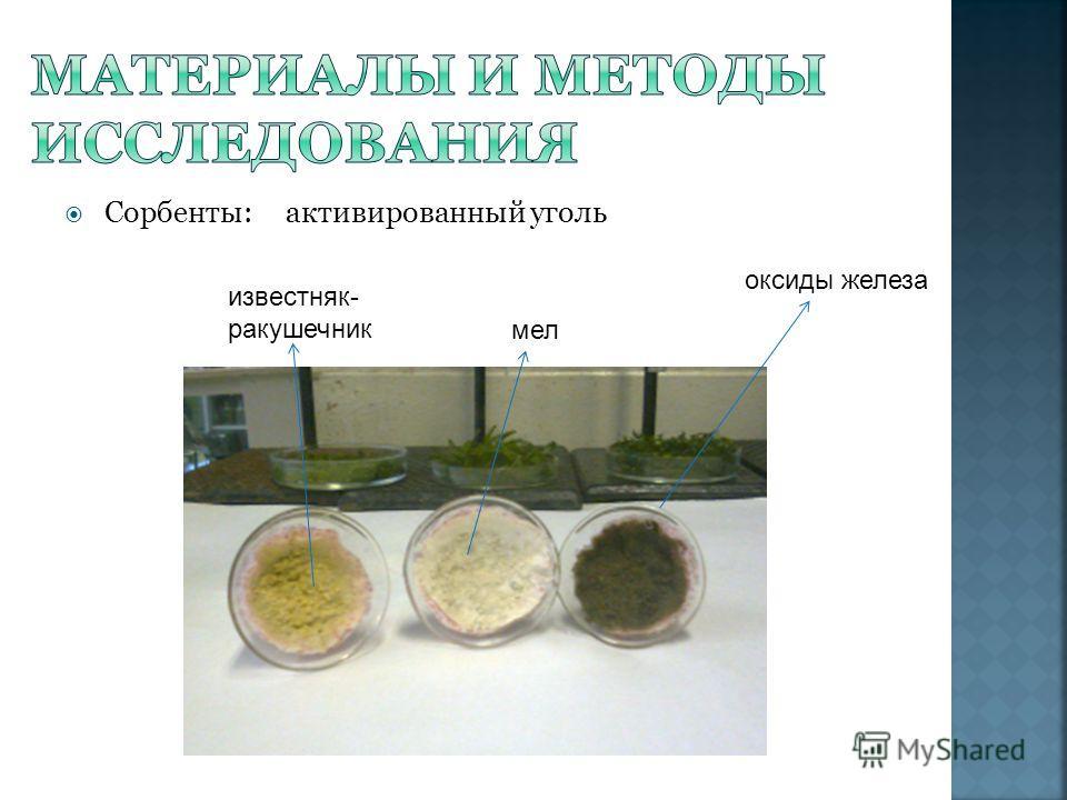 Сорбенты: активированный уголь известняк- ракушечник оксиды железа мел
