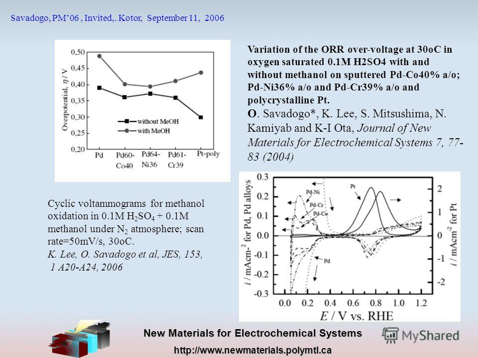 New Materials for Electrochemical Systems http://www.newmaterials.polymtl.ca Savadogo, PM06, Invited,. Kotor, September 11, 2006 Variation of the ORR over-voltage at 30oC in oxygen saturated 0.1M H2SO4 with and without methanol on sputtered Pd-Co40%