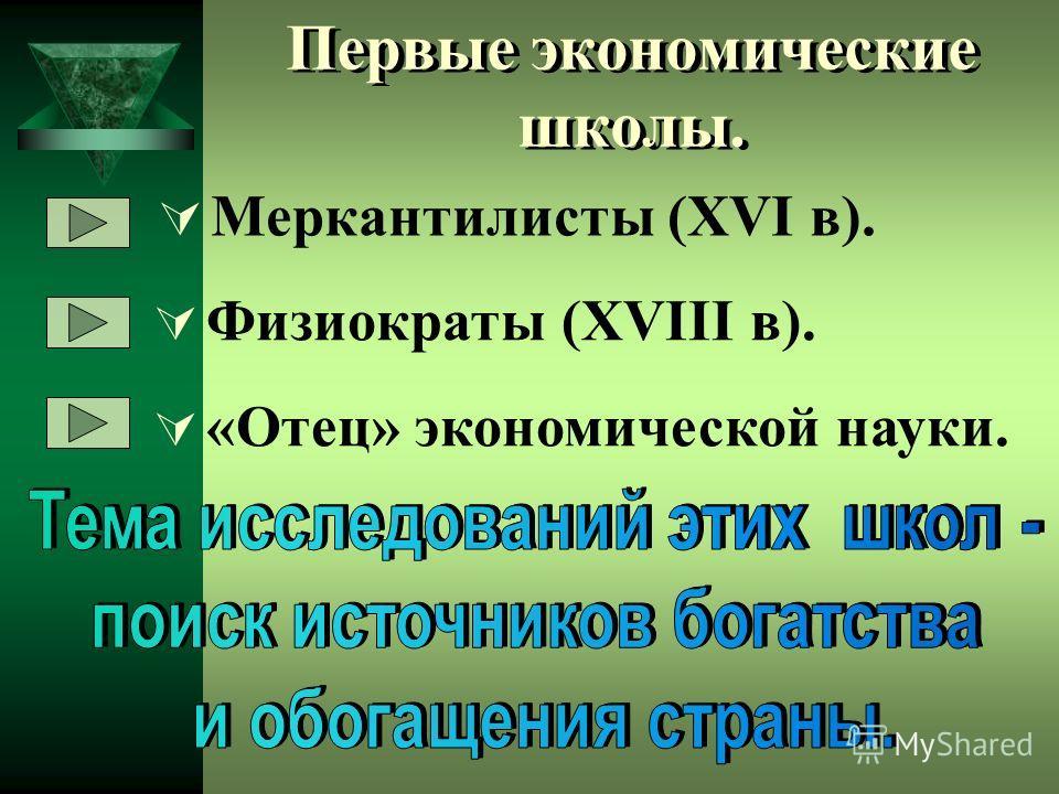 Первые экономические школы. Меркантилисты (XVI в). Физиократы (XVIII в). «Отец» экономической науки.