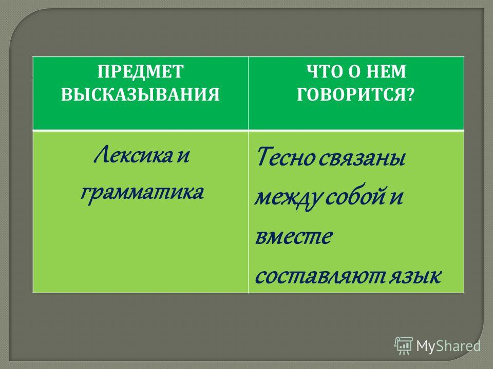 ПРЕДМЕТ ВЫСКАЗЫВАНИЯ ЧТО О НЕМ ГОВОРИТСЯ ? Лексика и грамматика Тесно связаны между собой и вместе составляют язык