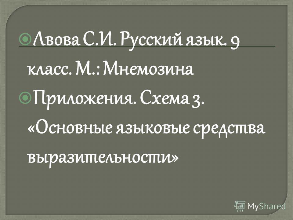 Лвова С.И. Русский язык. 9 класс. М.: Мнемозина Приложения. Схема 3. «Основные языковые средства выразительности»