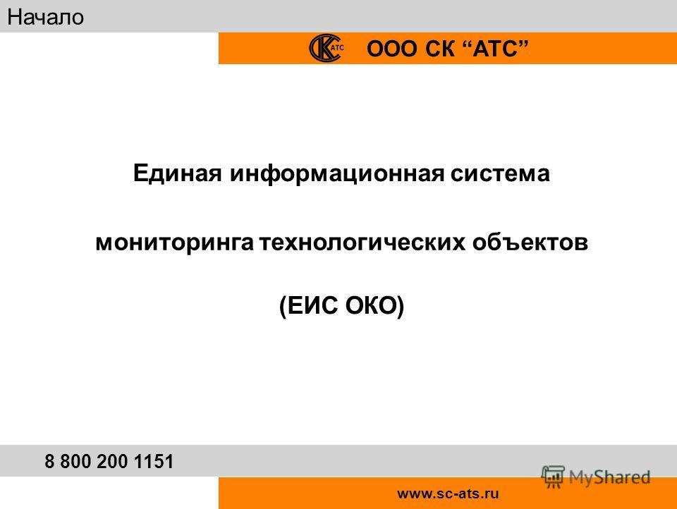 Единая информационная система мониторинга технологических объектов (ЕИС ОКО) www.sc-ats.ru ООО СК АТС Начало 8 800 200 1151