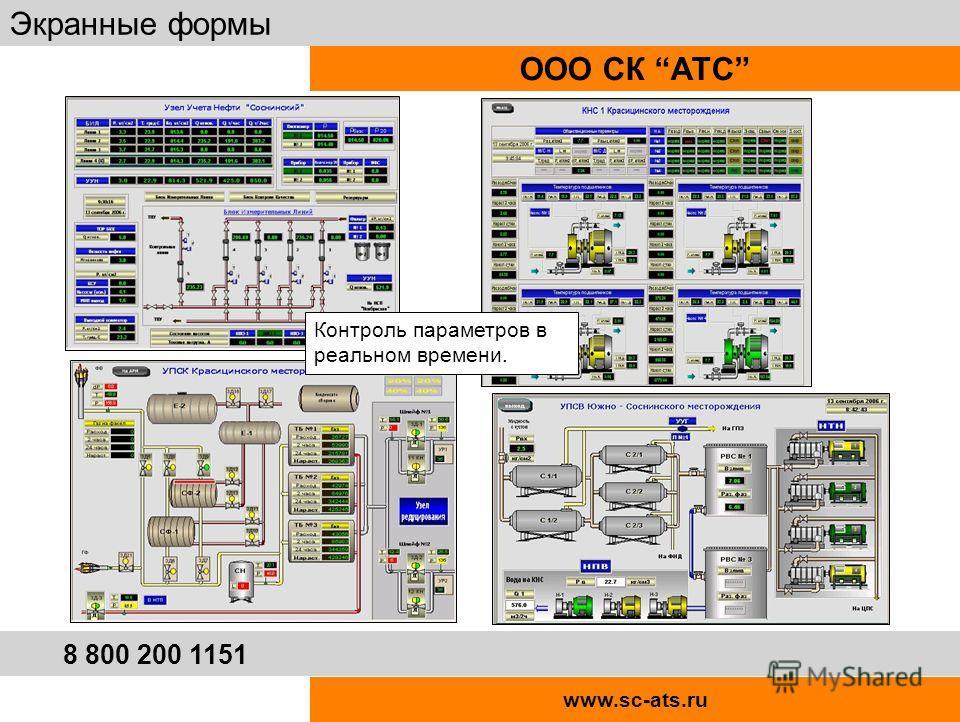www.sc-ats.ru ООО СК АТС Экранные формы 8 800 200 1151 Контроль параметров в реальном времени.