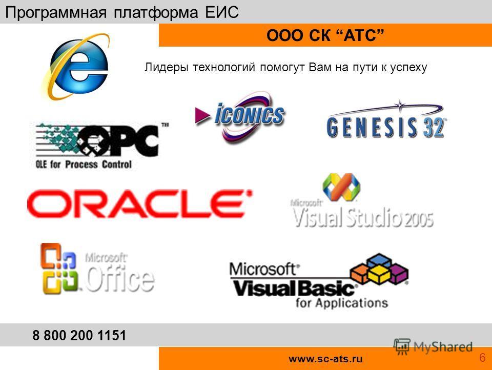 www.sc-ats.ru ООО СК АТС Программная платформа ЕИС 8 800 200 1151 Лидеры технологий помогут Вам на пути к успеху 6