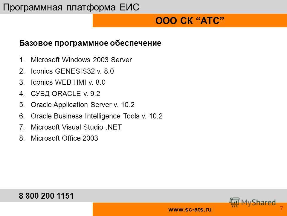 www.sc-ats.ru ООО СК АТС Программная платформа ЕИС 8 800 200 1151 1. Microsoft Windows 2003 Server 2. Iconics GENESIS32 v. 8.0 3. Iconics WEB HMI v. 8.0 4. СУБД ORACLE v. 9.2 5. Oracle Application Server v. 10.2 6. Oracle Business Intelligenсe Tools