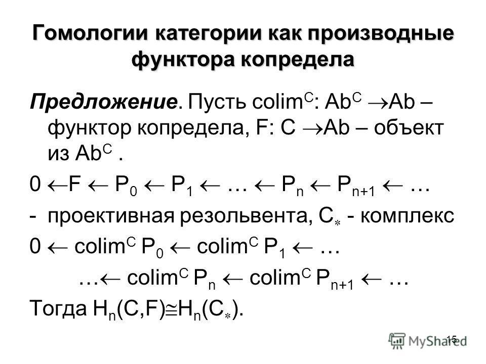 15 Гомологии категории как производные функтора копредела Предложение. Пусть colim C : Ab C Ab – функтор копредела, F: C Ab – объект из Ab C. 0 F P 0 P 1 … P n P n+1 … -проективная резольвента, С - комплекс 0 colim C P 0 colim C P 1 … … colim C P n c