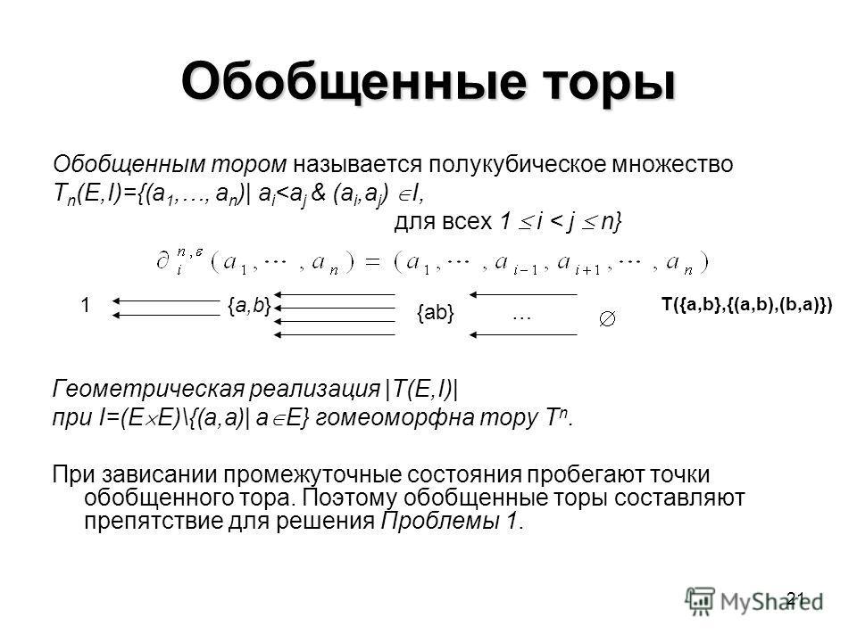 21 Обобщенные торы Обобщенным тором называется полукубическое множество T n (E,I)={(a 1,…, a n )| a i