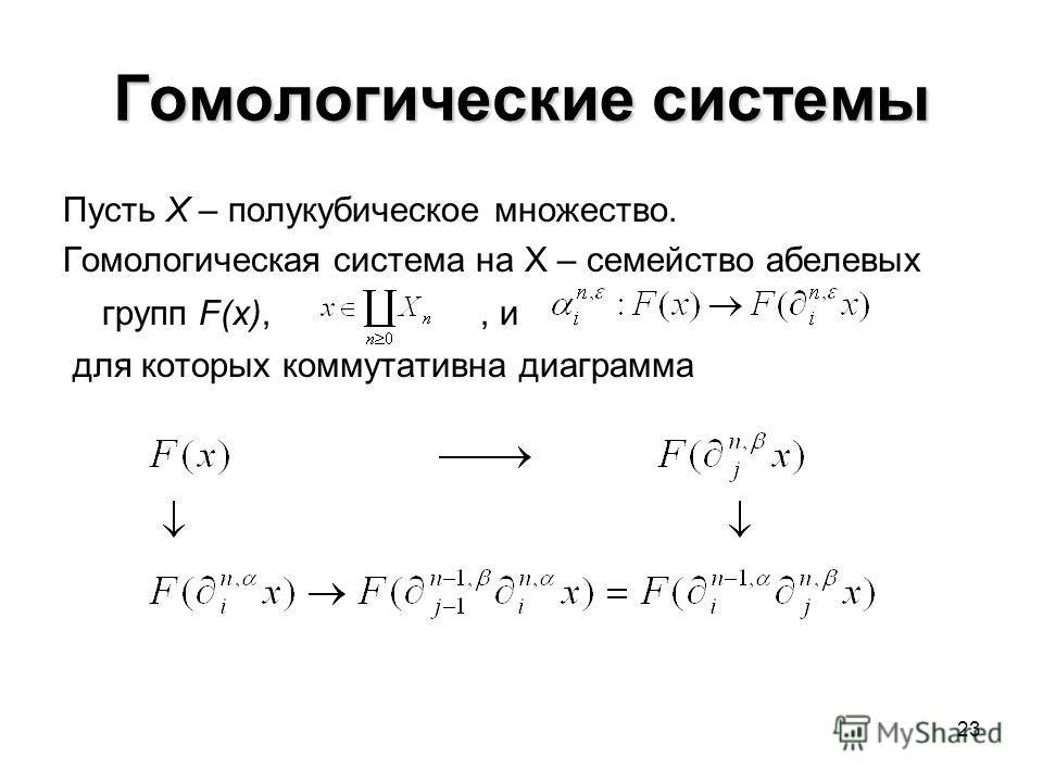23 Гомологические системы Пусть X – полукубическое множество. Гомологическая система на X – семейство абелевых групп F(x),, и для которых коммутативна диаграмма