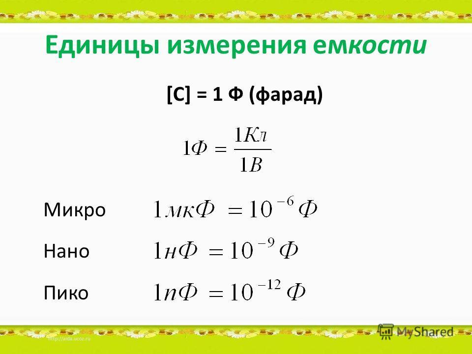 Единицы измерения емкости [C] = 1 Ф (фарад) Микро Нано Пико