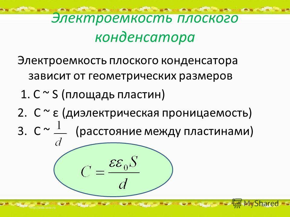 Электроемкость плоского конденсатора Электроемкость плоского конденсатора зависит от геометрических размеров 1. C ~ S (площадь пластин) 2.C ~ ε (диэлектрическая проницаемость) 3.C ~(расстояние между пластинами)