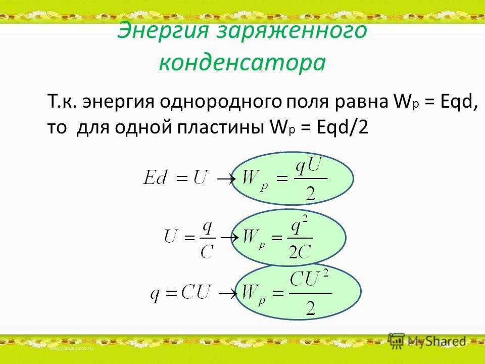 Энергия заряженного конденсатора Т.к. энергия однородного поля равна W p = Eqd, то для одной пластины W p = Eqd/2