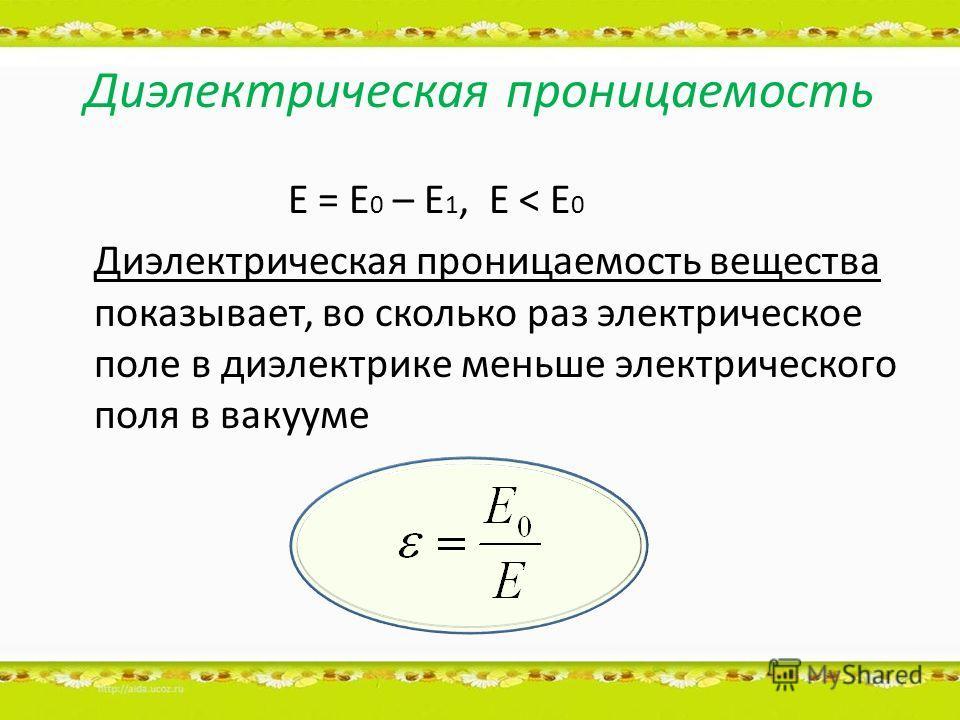 Диэлектрическая проницаемость Е = Е 0 – Е 1, Е < Е 0 Диэлектрическая проницаемость вещества показывает, во сколько раз электрическое поле в диэлектрике меньше электрического поля в вакууме