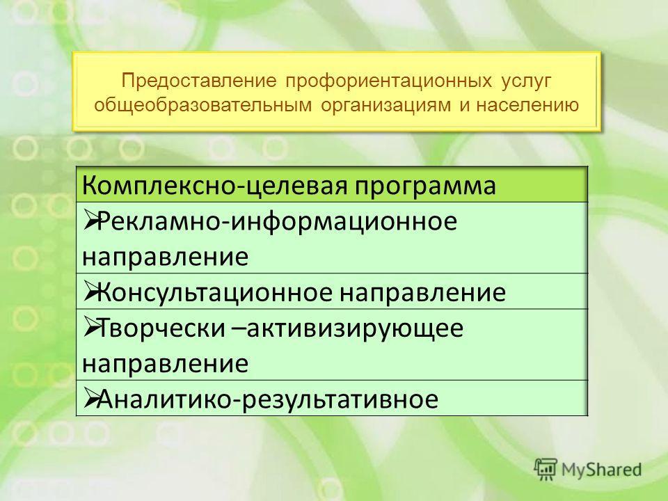 Предоставление профориентационных услуг общеобразовательным организациям и населению
