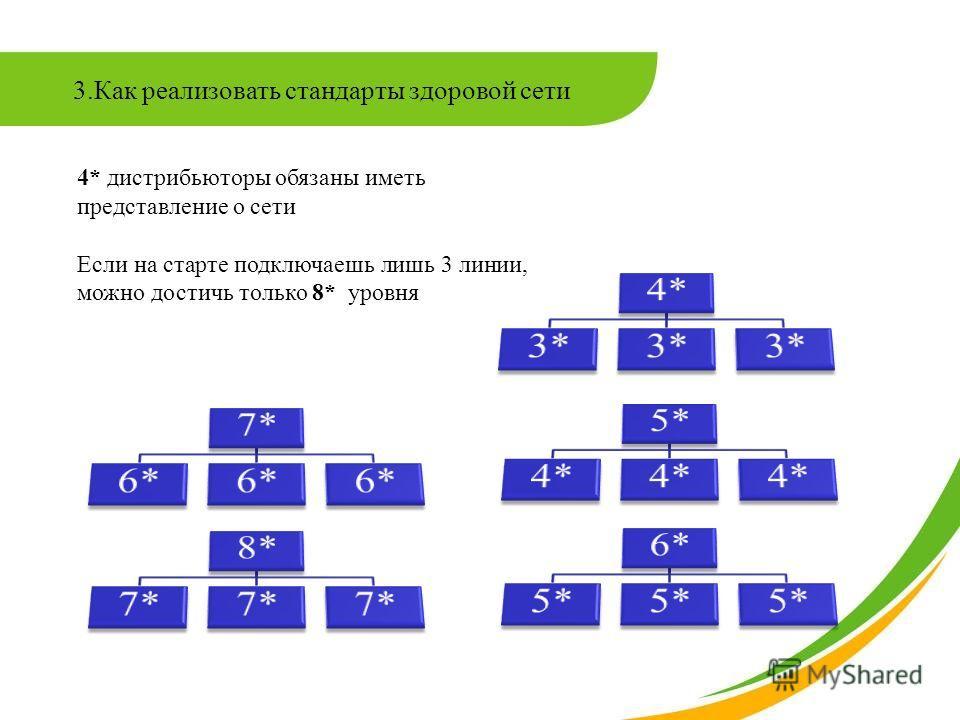 3.Как реализовать стандарты здоровой сети 4* дистрибьюторы обязаны иметь представление о сети Если на старте подключаешь лишь 3 линии, можно достичь только 8* уровня