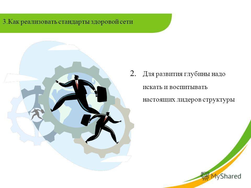 2. Для развития глубины надо искать и воспитывать настоящих лидеров структуры 3.Как реализовать стандарты здоровой сети