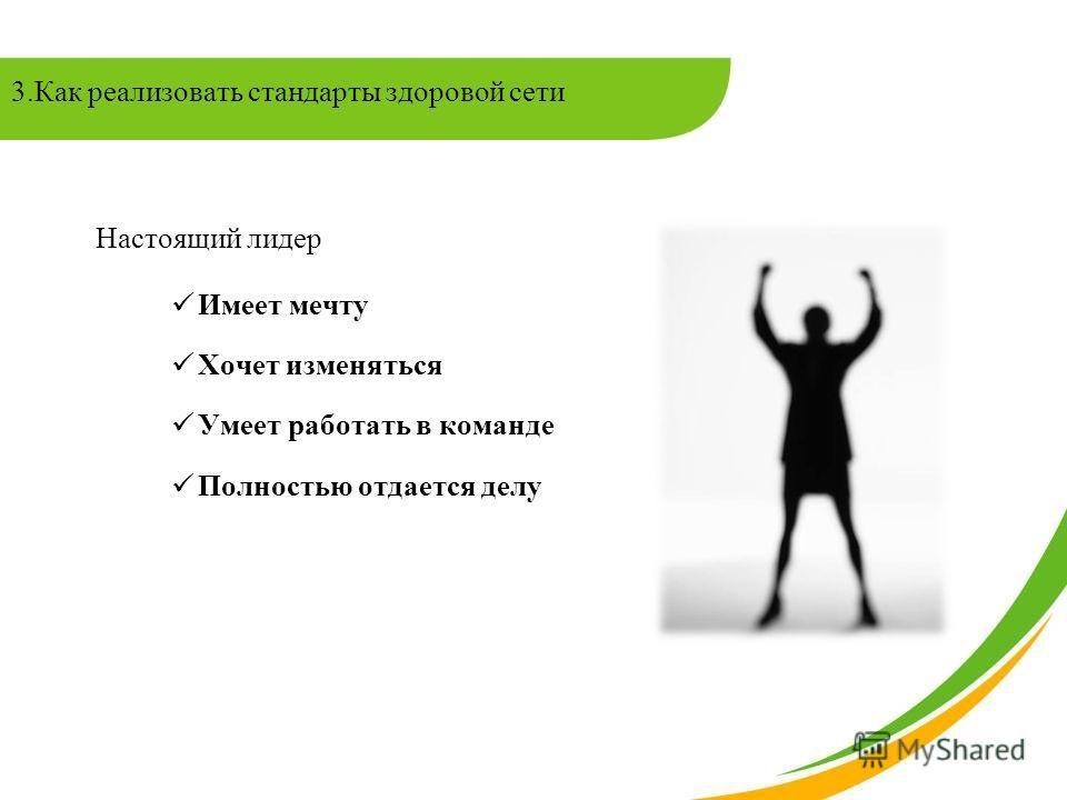 Настоящий лидер Имеет мечту Хочет изменяться Умеет работать в команде Полностью отдается делу 3.Как реализовать стандарты здоровой сети